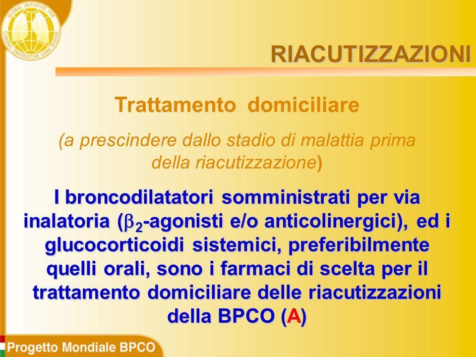 Trattamento domiciliare (a prescindere dallo stadio di malattia prima della riacutizzazione) I broncodilatatori somministrati per via inalatoria (  2 -agonisti e/o anticolinergici), ed i glucocorticoidi sistemici, preferibilmente quelli orali, sono i farmaci di scelta per il trattamento domiciliare delle riacutizzazioni della BPCO (A) RIACUTIZZAZIONI