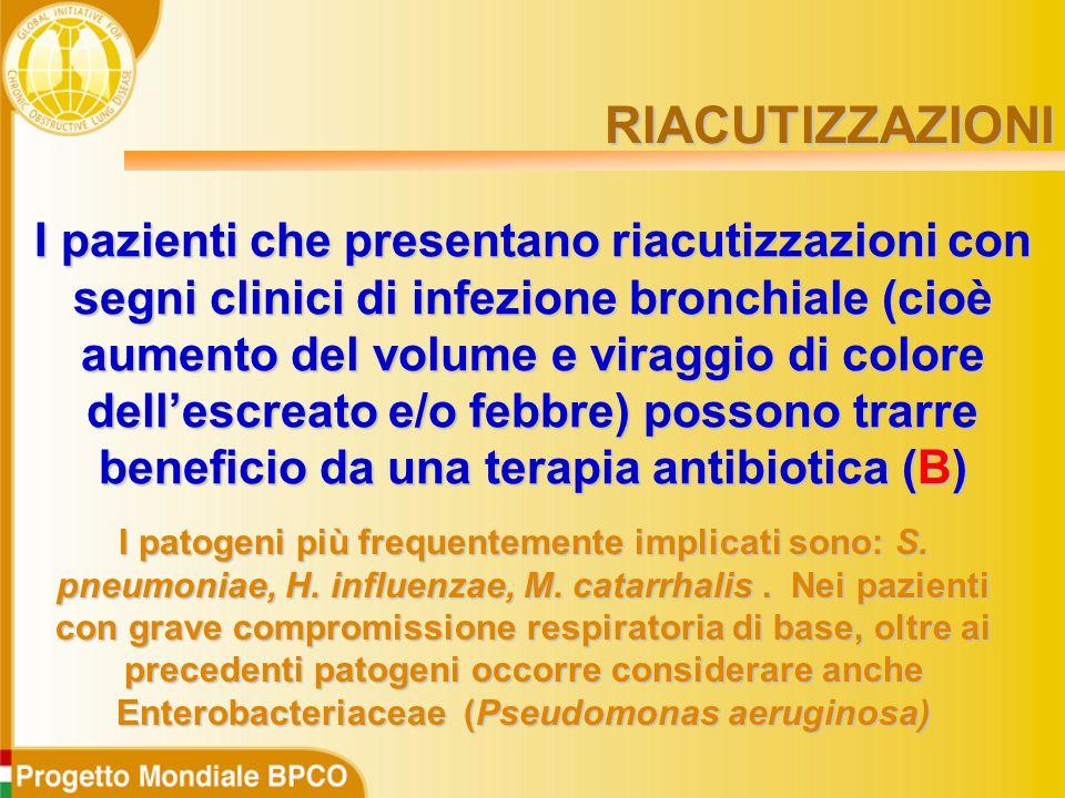 I pazienti che presentano riacutizzazioni con segni clinici di infezione bronchiale (cioè aumento del volume e viraggio di colore dell'escreato e/o febbre) possono trarre beneficio da una terapia antibiotica (B) I patogeni più frequentemente implicati sono: S.