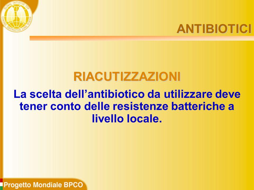 La scelta dell'antibiotico da utilizzare deve tener conto delle resistenze batteriche a livello locale.