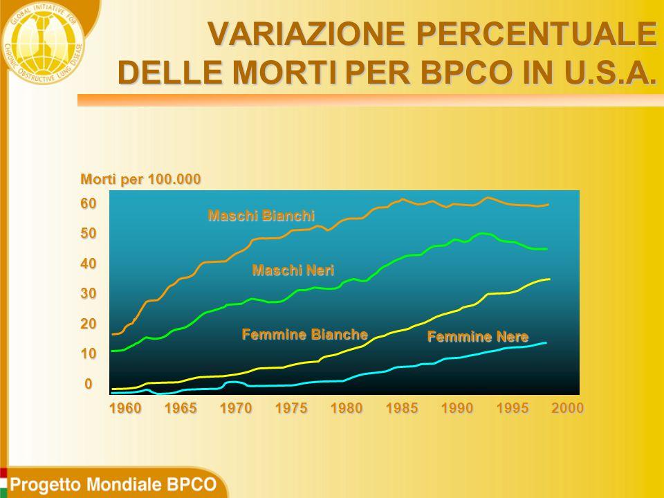 0 10 20 30 40 50 60 196019701975198019851965199019952000 Maschi Bianchi Maschi Neri Femmine Bianche Femmine Nere Morti per 100.000 VARIAZIONE PERCENTUALE DELLE MORTI PER BPCO IN U.S.A.