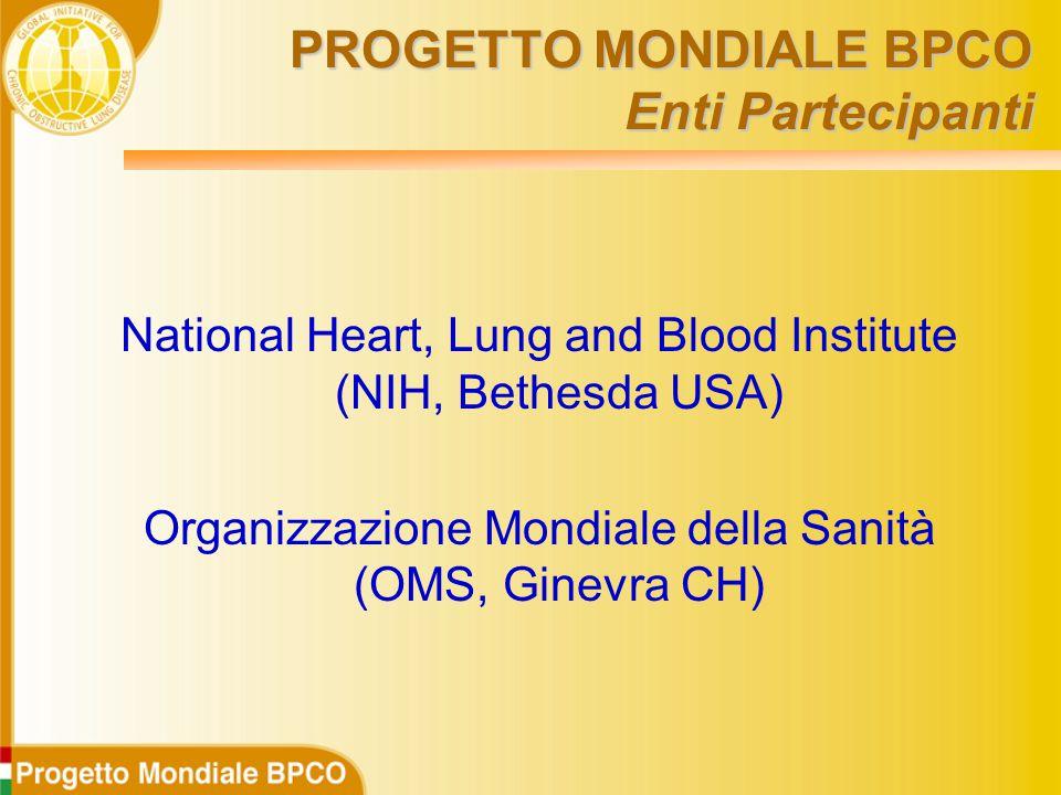 PROGETTO MONDIALE BPCO Enti Partecipanti National Heart, Lung and Blood Institute (NIH, Bethesda USA) Organizzazione Mondiale della Sanità (OMS, Ginevra CH)