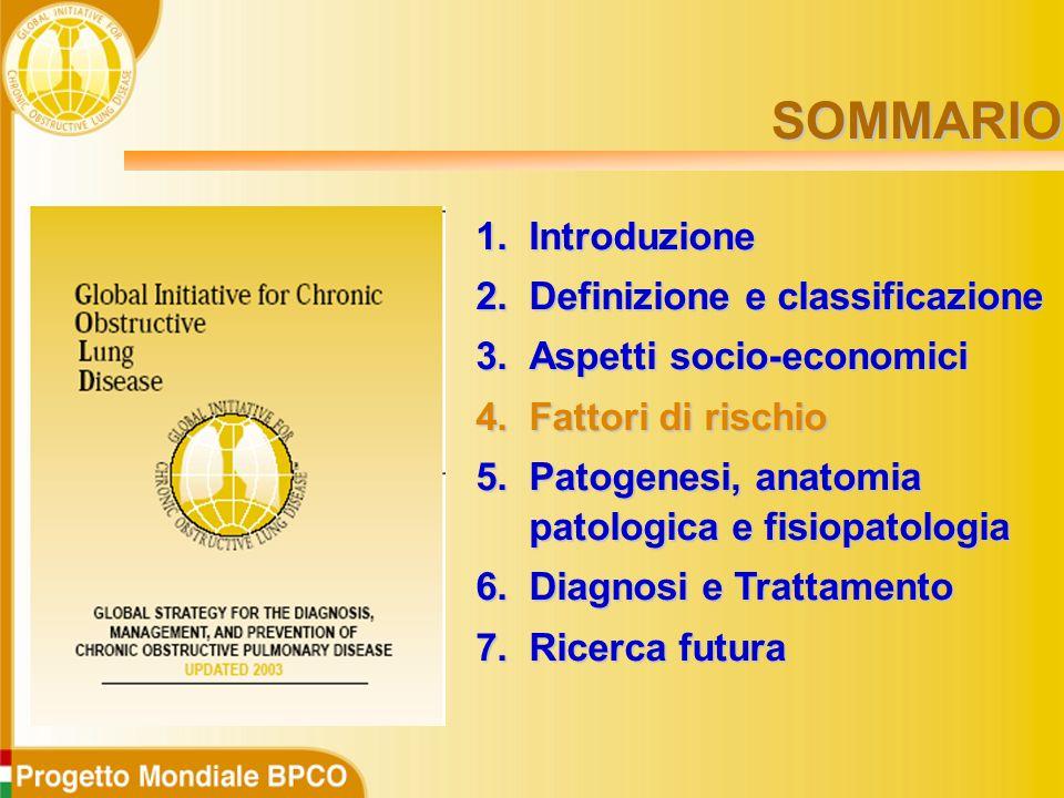1.Introduzione 2.Definizione e classificazione 3.Aspetti socio-economici 4.Fattori di rischio 5.Patogenesi, anatomia patologica e fisiopatologia 6.Diagnosi e Trattamento 7.Ricerca futura SOMMARIO