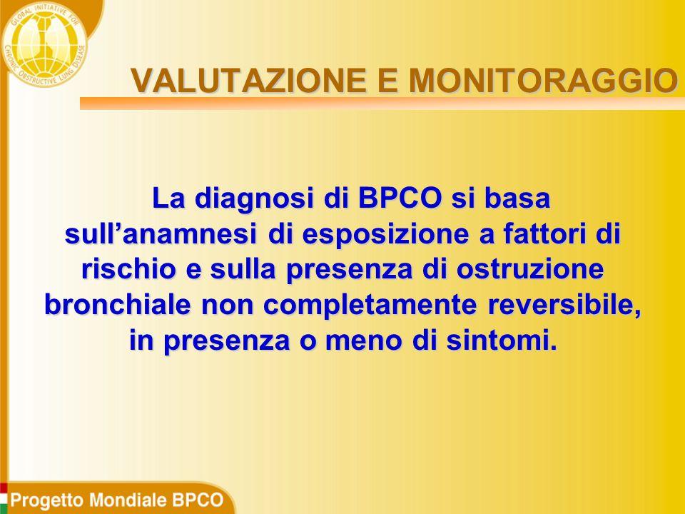 La diagnosi di BPCO si basa sull'anamnesi di esposizione a fattori di rischio e sulla presenza di ostruzione bronchiale non completamente reversibile, in presenza o meno di sintomi.