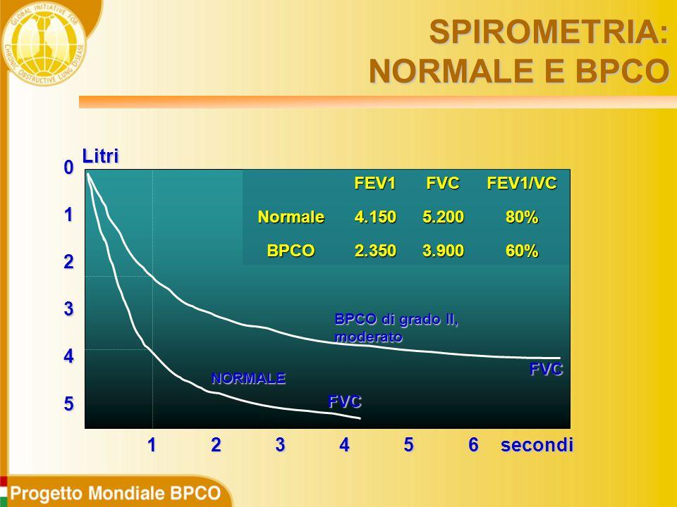 5 0 1 2 3 4 123456 FVC FVC BPCO di grado II, moderato NORMALE secondiLitri FEV1FVCFEV1/VCNormale4.1505.20080% BPCO2.3503.90060% SPIROMETRIA: NORMALE E BPCO