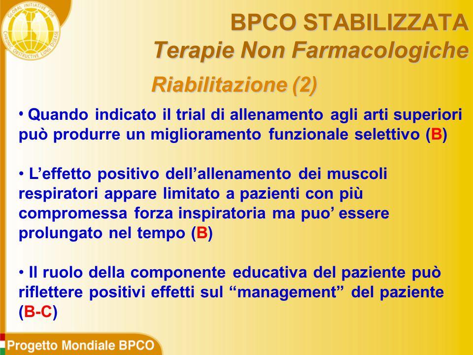 Riabilitazione (2) Quando indicato il trial di allenamento agli arti superiori può produrre un miglioramento funzionale selettivo (B) L'effetto positivo dell'allenamento dei muscoli respiratori appare limitato a pazienti con più compromessa forza inspiratoria ma puo' essere prolungato nel tempo (B) Il ruolo della componente educativa del paziente può riflettere positivi effetti sul management del paziente (B-C) BPCO STABILIZZATA Terapie Non Farmacologiche