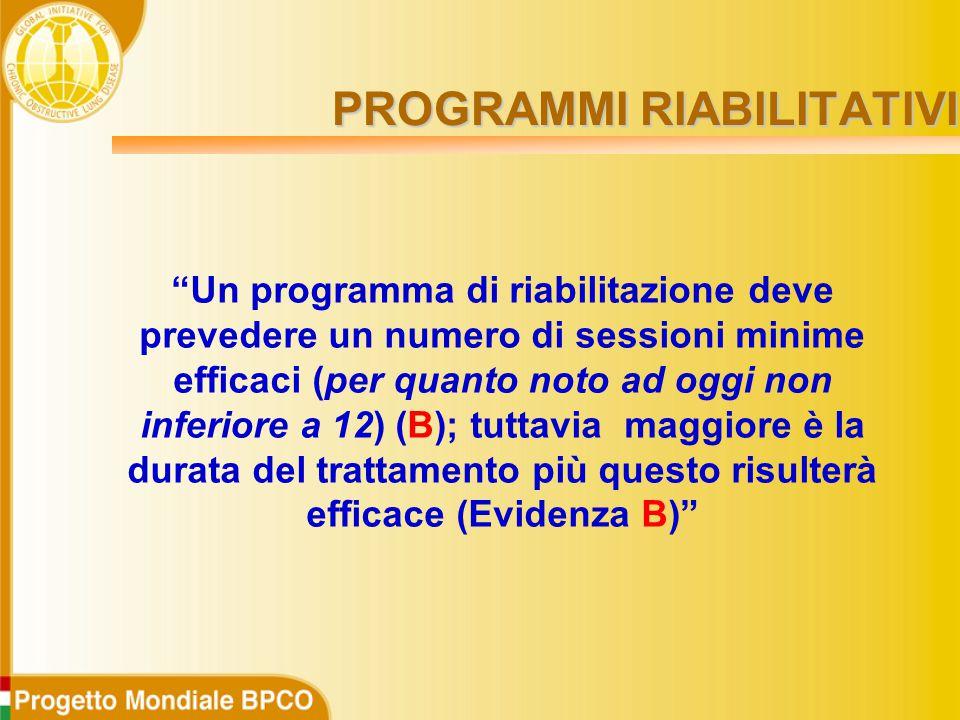 PROGRAMMI RIABILITATIVI Un programma di riabilitazione deve prevedere un numero di sessioni minime efficaci (per quanto noto ad oggi non inferiore a 12) (B); tuttavia maggiore è la durata del trattamento più questo risulterà efficace (Evidenza B)