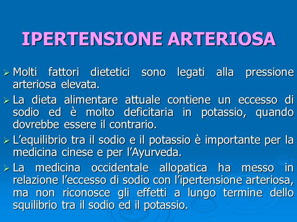  Molti fattori dietetici sono legati alla pressione arteriosa elevata.  La dieta alimentare attuale contiene un eccesso di sodio ed è molto deficita