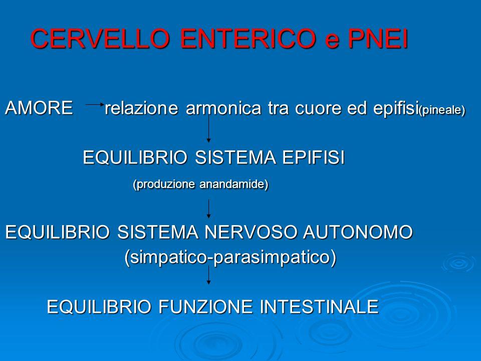 CERVELLO ENTERICO e PNEI AMORE relazione armonica tra cuore ed epifisi (pineale) EQUILIBRIO SISTEMA EPIFISI EQUILIBRIO SISTEMA EPIFISI (produzione anandamide) (produzione anandamide) EQUILIBRIO SISTEMA NERVOSO AUTONOMO (simpatico-parasimpatico) (simpatico-parasimpatico) EQUILIBRIO FUNZIONE INTESTINALE EQUILIBRIO FUNZIONE INTESTINALE