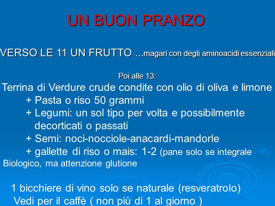 UN BUON PRANZO VERSO LE 11 UN FRUTTO... magari con degli aminoacidi essenziali Poi alle 13: Terrina di Verdure crude condite con olio di oliva e limon