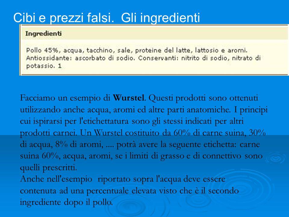 Facciamo un esempio di Wurstel. Questi prodotti sono ottenuti utilizzando anche acqua, aromi ed altre parti anatomiche. I principi cui ispirarsi per l