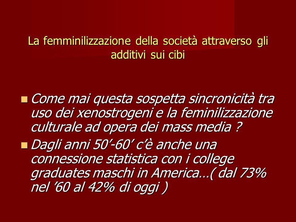 La femminilizzazione della società attraverso gli additivi sui cibi Come mai questa sospetta sincronicità tra uso dei xenostrogeni e la feminilizzazione culturale ad opera dei mass media .