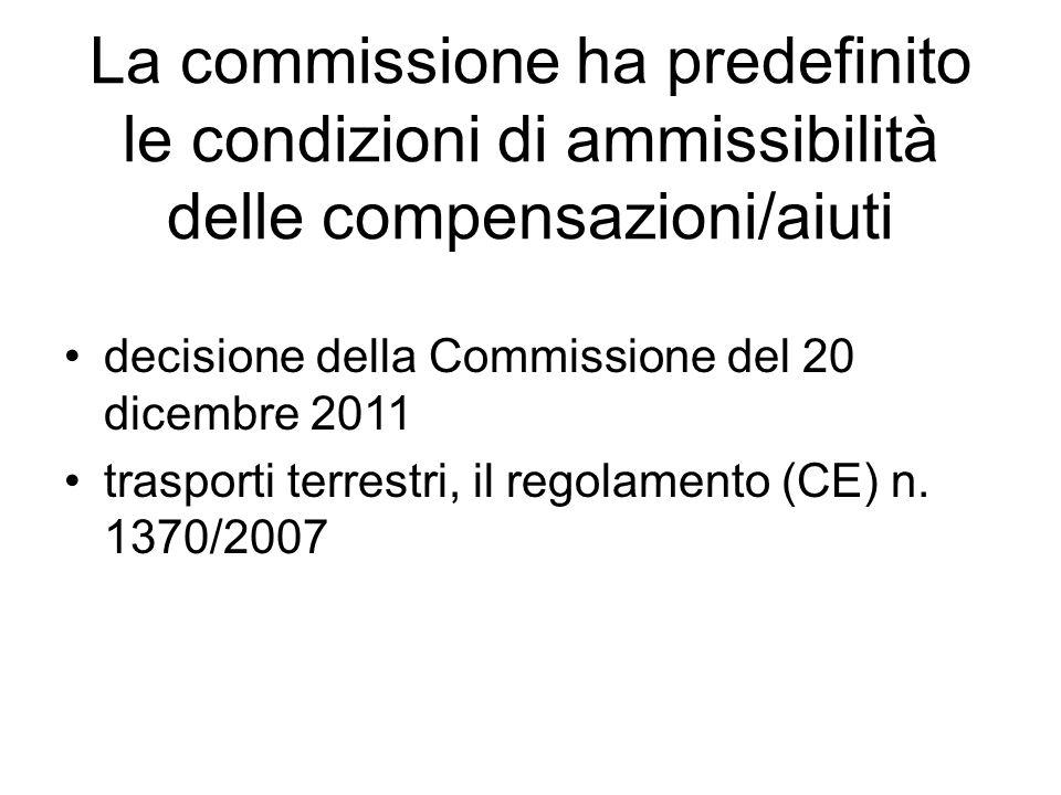 La commissione ha predefinito le condizioni di ammissibilità delle compensazioni/aiuti decisione della Commissione del 20 dicembre 2011 trasporti terrestri, il regolamento (CE) n.