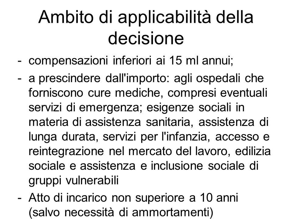 Ambito di applicabilità della decisione -compensazioni inferiori ai 15 ml annui; -a prescindere dall'importo: agli ospedali che forniscono cure medich