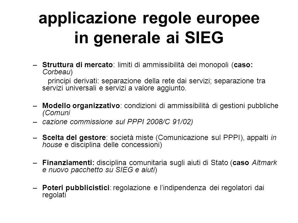 applicazione regole europee in generale ai SIEG –Struttura di mercato: limiti di ammissibilità dei monopoli (caso: Corbeau) principi derivati: separazione della rete dai servizi; separazione tra servizi universali e servizi a valore aggiunto.