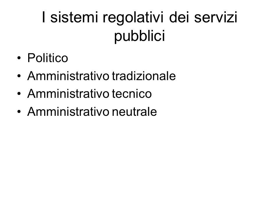 I sistemi regolativi dei servizi pubblici Politico Amministrativo tradizionale Amministrativo tecnico Amministrativo neutrale