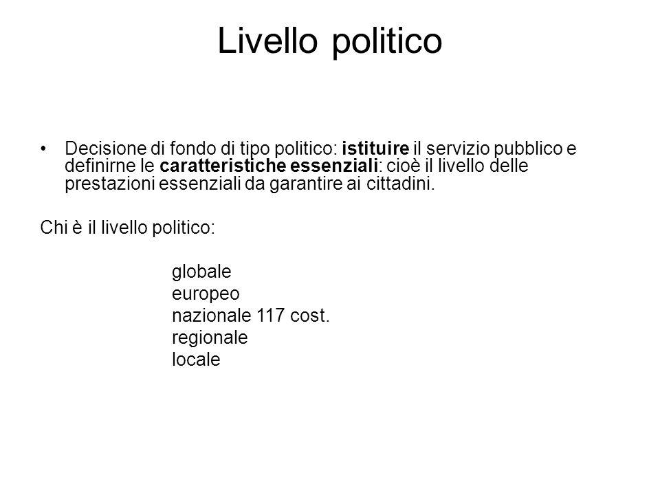 Livello politico Decisione di fondo di tipo politico: istituire il servizio pubblico e definirne le caratteristiche essenziali: cioè il livello delle prestazioni essenziali da garantire ai cittadini.