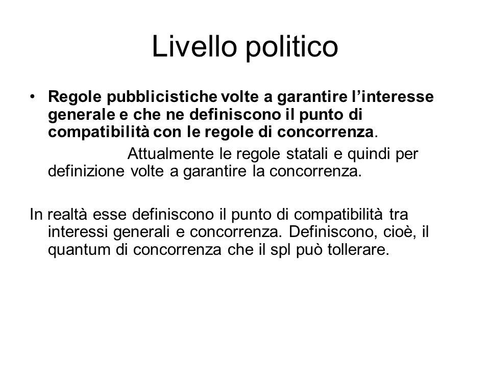 Livello politico Regole pubblicistiche volte a garantire l'interesse generale e che ne definiscono il punto di compatibilità con le regole di concorre