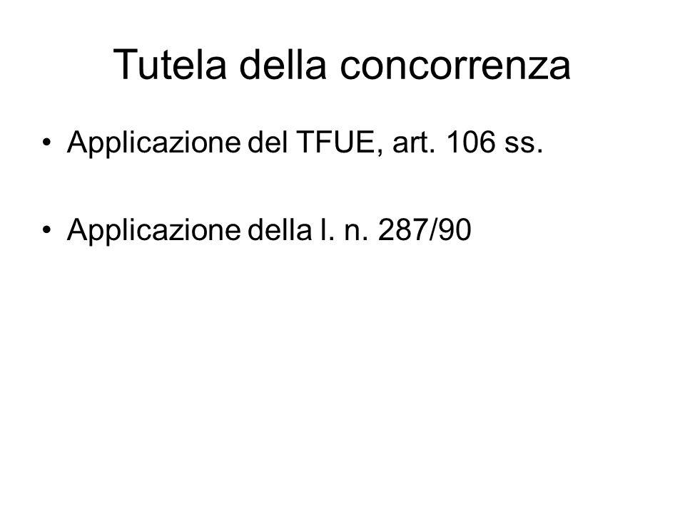 Tutela della concorrenza Applicazione del TFUE, art. 106 ss. Applicazione della l. n. 287/90