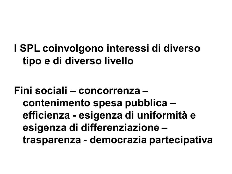 I SPL coinvolgono interessi di diverso tipo e di diverso livello Fini sociali – concorrenza – contenimento spesa pubblica – efficienza - esigenza di uniformità e esigenza di differenziazione – trasparenza - democrazia partecipativa