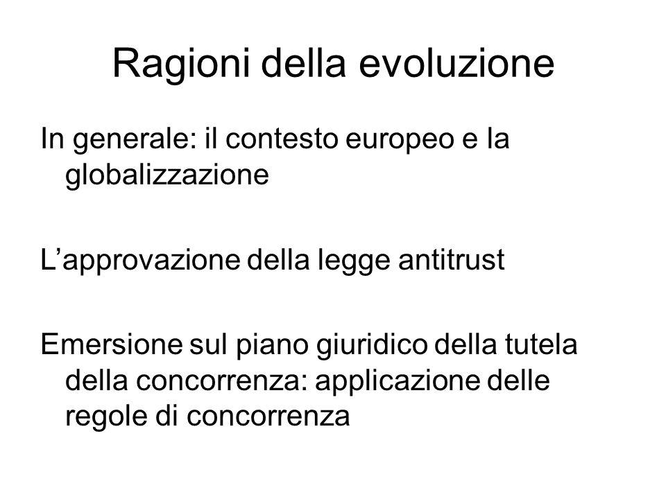 Ragioni della evoluzione In generale: il contesto europeo e la globalizzazione L'approvazione della legge antitrust Emersione sul piano giuridico della tutela della concorrenza: applicazione delle regole di concorrenza