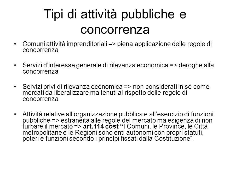 Tipi di attività pubbliche e concorrenza Comuni attività imprenditoriali => piena applicazione delle regole di concorrenza Servizi d'interesse general