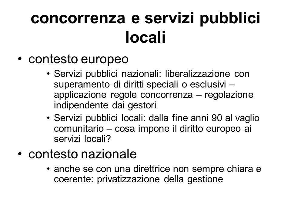concorrenza e servizi pubblici locali contesto europeo Servizi pubblici nazionali: liberalizzazione con superamento di diritti speciali o esclusivi –