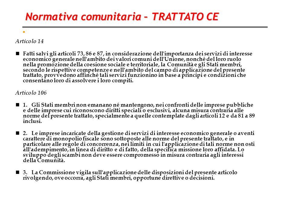 . Articolo 14 Fatti salvi gli articoli 73, 86 e 87, in considerazione dell'importanza dei servizi di interesse economico generale nell'ambito dei valo