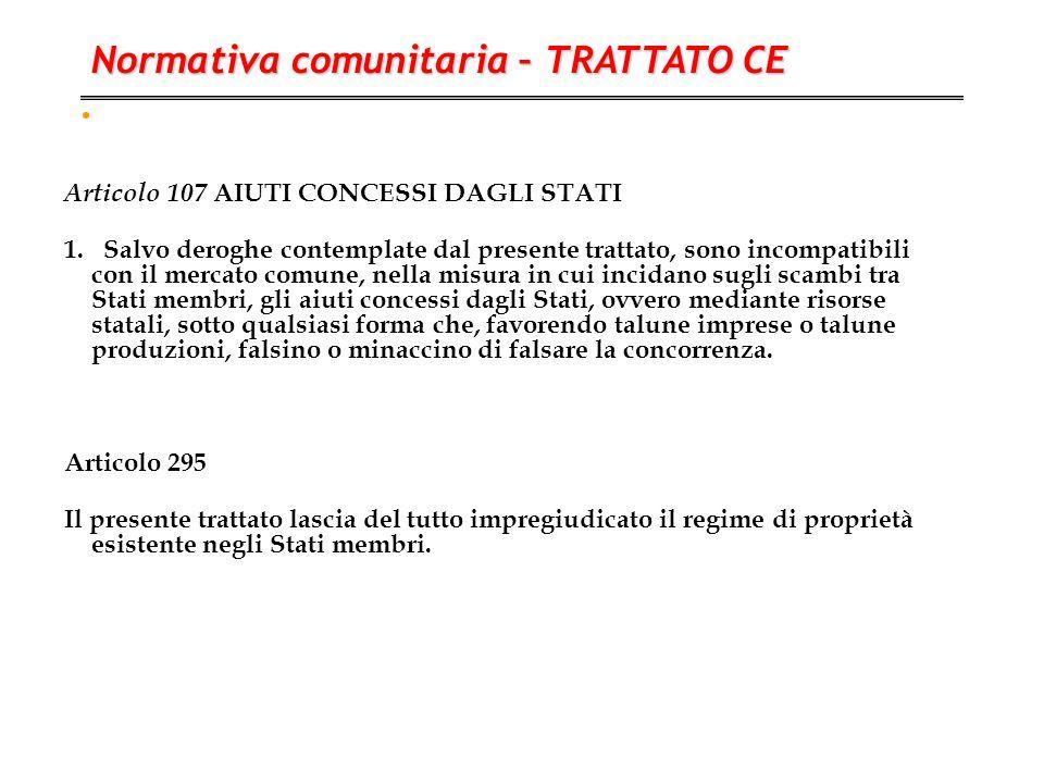 . Articolo 107 AIUTI CONCESSI DAGLI STATI 1. Salvo deroghe contemplate dal presente trattato, sono incompatibili con il mercato comune, nella misura i