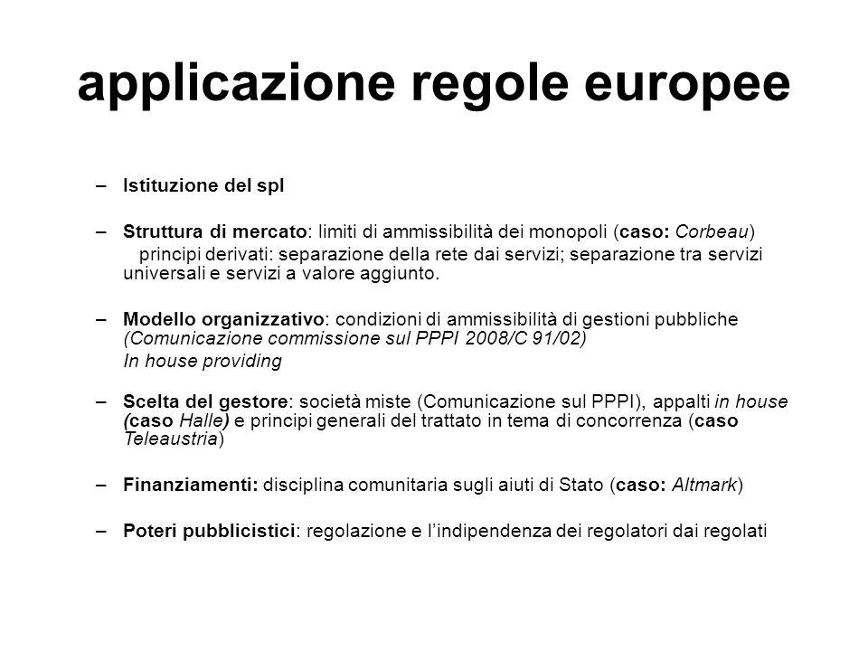 applicazione regole europee –Istituzione del spl –Struttura di mercato: limiti di ammissibilità dei monopoli (caso: Corbeau) principi derivati: separa