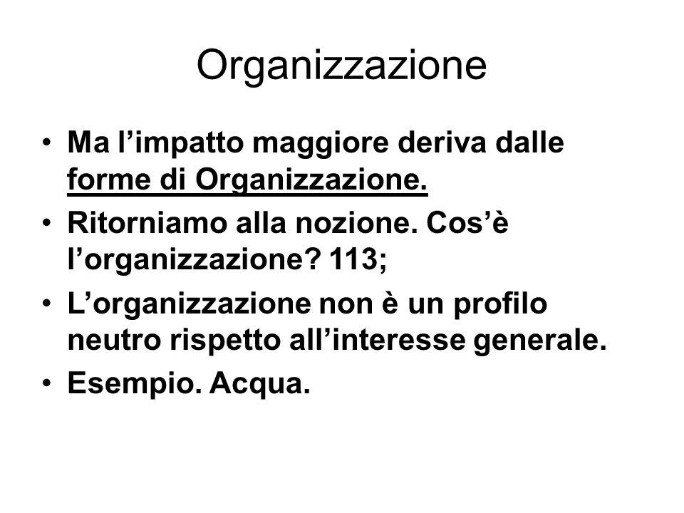 Organizzazione Ma l'impatto maggiore deriva dalle forme di Organizzazione. Ritorniamo alla nozione. Cos'è l'organizzazione? 113; L'organizzazione non