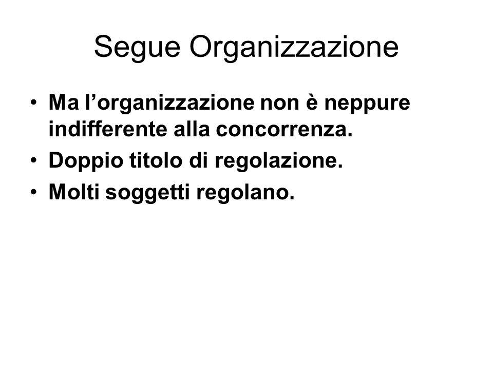 Segue Organizzazione Ma l'organizzazione non è neppure indifferente alla concorrenza. Doppio titolo di regolazione. Molti soggetti regolano.