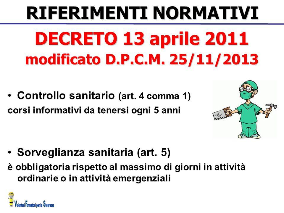 RIFERIMENTI NORMATIVI Controllo sanitario (art. 4 comma 1) corsi informativi da tenersi ogni 5 anni Sorveglianza sanitaria (art. 5) è obbligatoria ris