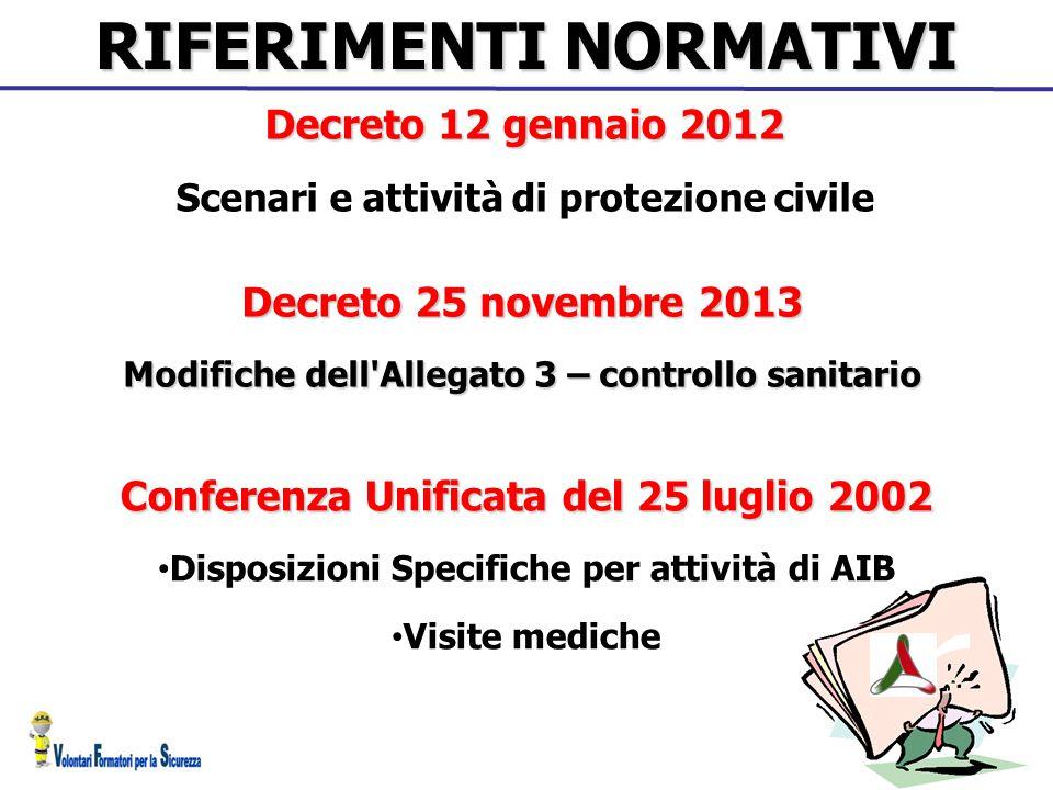RIFERIMENTI NORMATIVI Decreto 12 gennaio 2012 Scenari e attività di protezione civile Decreto 25 novembre 2013 Modifiche dell'Allegato 3 – controllo s
