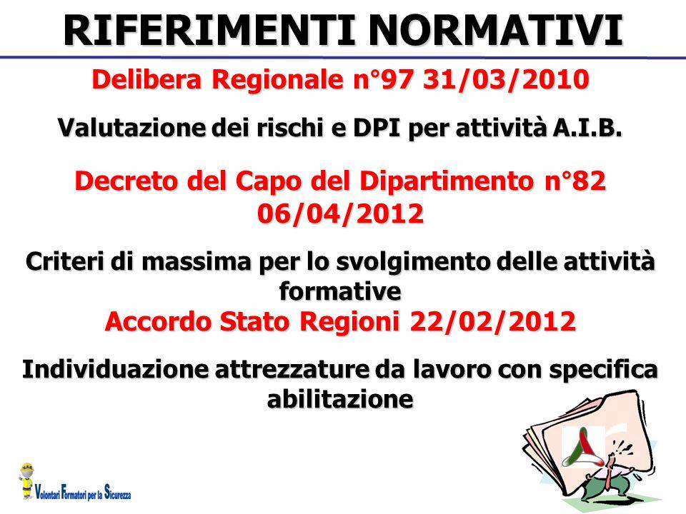 RIFERIMENTI NORMATIVI Decreto del Capo del Dipartimento n°82 06/04/2012 Criteri di massima per lo svolgimento delle attività formative Accordo Stato R