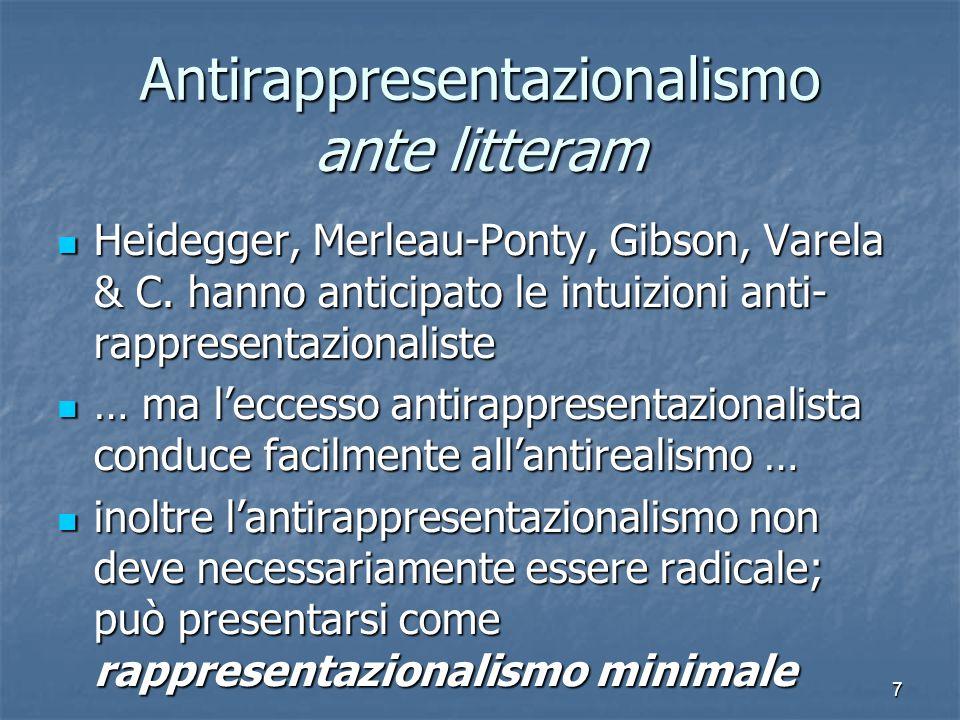 7 Antirappresentazionalismo ante litteram Heidegger, Merleau-Ponty, Gibson, Varela & C.
