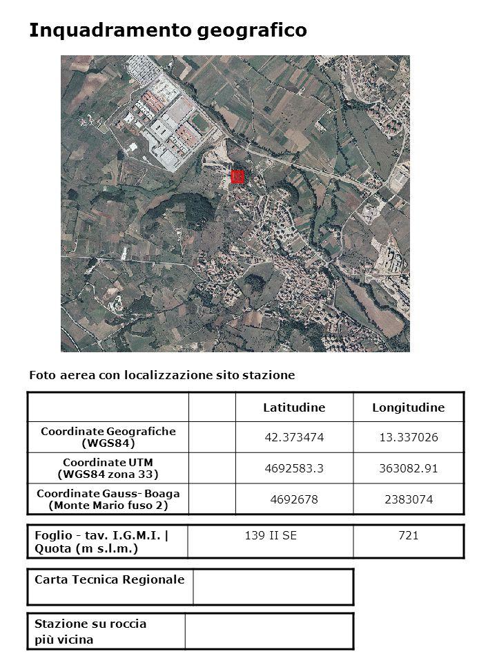 Inquadramento geologico Carta geologica d'Italia al 1:100000 – foglio 139