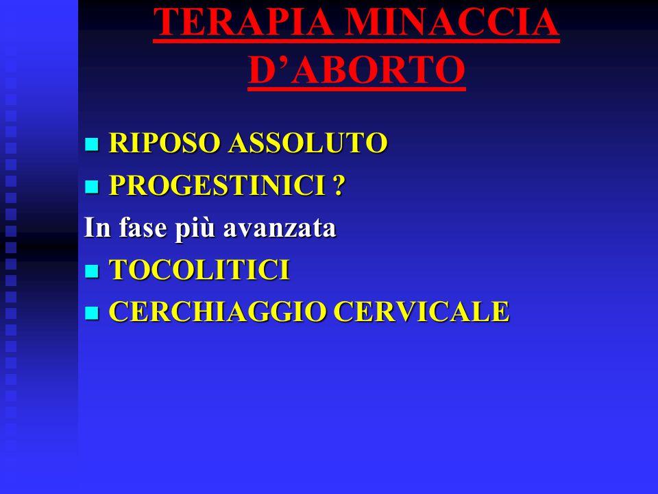 TERAPIA MINACCIA D'ABORTO RIPOSO ASSOLUTO RIPOSO ASSOLUTO PROGESTINICI .