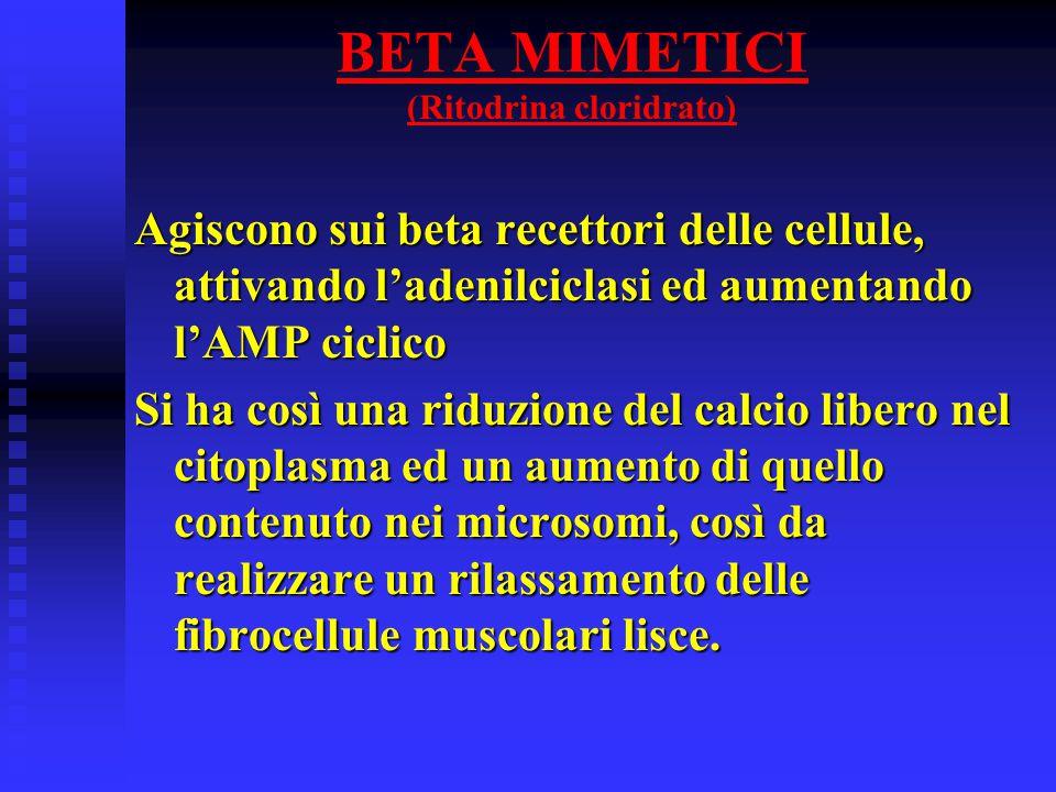 BETA MIMETICI (Ritodrina cloridrato) Agiscono sui beta recettori delle cellule, attivando l'adenilciclasi ed aumentando l'AMP ciclico Si ha così una riduzione del calcio libero nel citoplasma ed un aumento di quello contenuto nei microsomi, così da realizzare un rilassamento delle fibrocellule muscolari lisce.