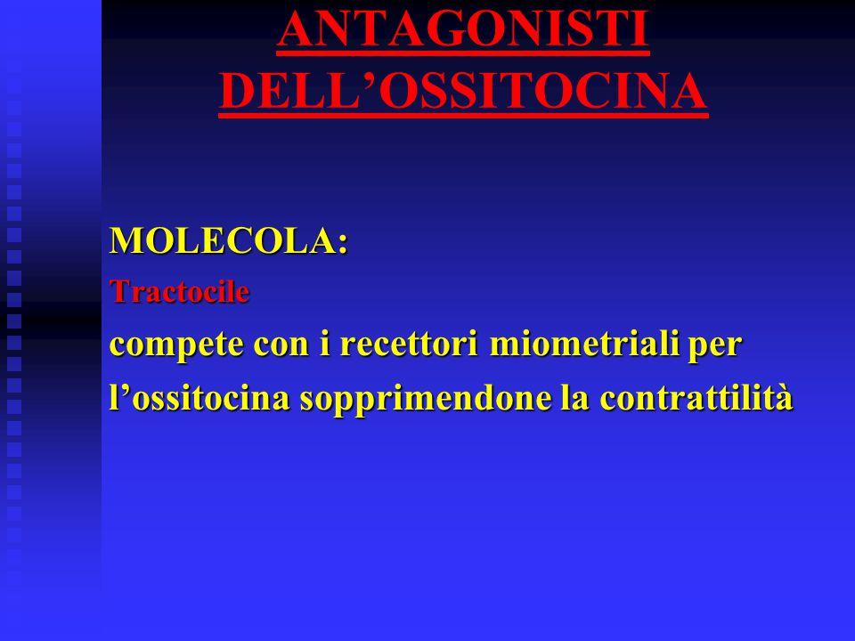 ANTAGONISTI DELL'OSSITOCINA MOLECOLA:Tractocile compete con i recettori miometriali per l'ossitocina sopprimendone la contrattilità