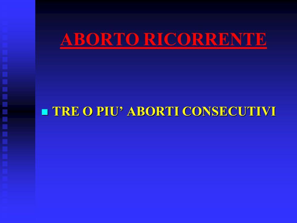 ABORTO RICORRENTE TRE O PIU' ABORTI CONSECUTIVI TRE O PIU' ABORTI CONSECUTIVI