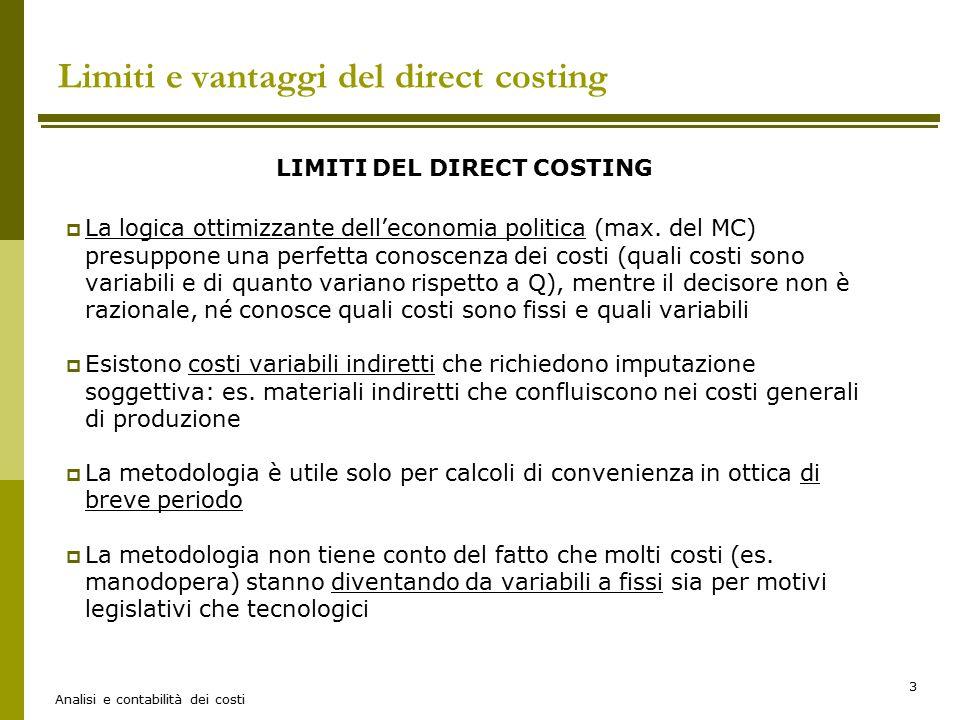 Analisi e contabilità dei costi 3 Limiti e vantaggi del direct costing LIMITI DEL DIRECT COSTING  La logica ottimizzante dell'economia politica (max.