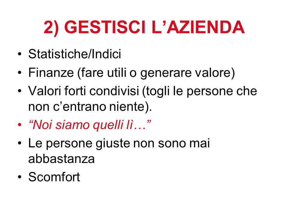"""2) GESTISCI L'AZIENDA Statistiche/Indici Finanze (fare utili o generare valore) Valori forti condivisi (togli le persone che non c'entrano niente). """"N"""