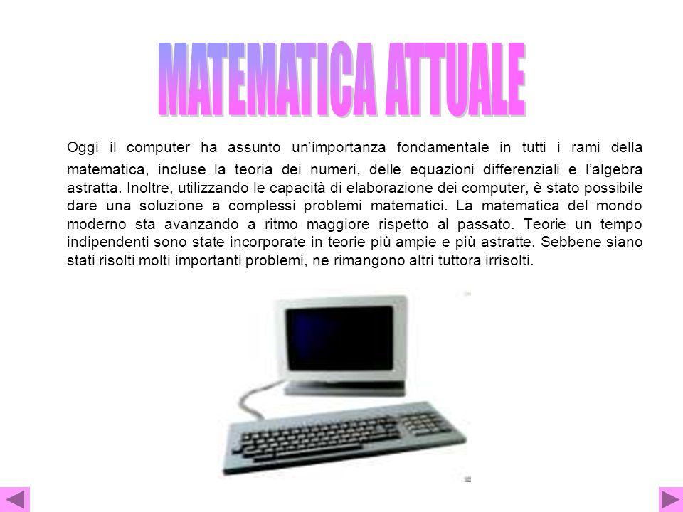Oggi il computer ha assunto un'importanza fondamentale in tutti i rami della matematica, incluse la teoria dei numeri, delle equazioni differenziali e