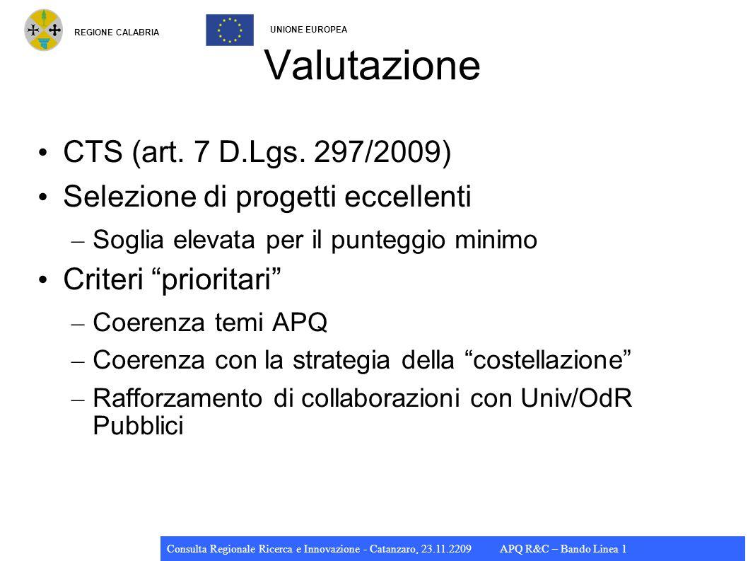 REGIONE CALABRIA UNIONE EUROPEA Consulta Regionale Ricerca e Innovazione - Catanzaro, 23.11.2209 APQ R&C – Bando Linea 1 Valutazione CTS (art.