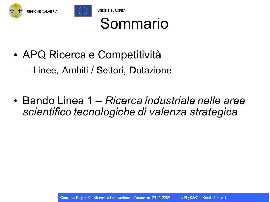 REGIONE CALABRIA UNIONE EUROPEA Consulta Regionale Ricerca e Innovazione - Catanzaro, 23.11.2209 APQ R&C – Bando Linea 1 APQ PON R&C PON R&C prevede interventi coerenti con le priorità di sviluppo delle regioni, avviati anche attraverso appositi accordi di programma tra ministeri e regioni APQ Ricerca e Competitività (31.07.2009) – Struttura comune per le quattro regioni CONV – Importante budget complessivo: ~ 50% PON R&C – Budget APQ R&C Calabria: 325 M€ – Strumenti attuativi: DM 593/2000 art.