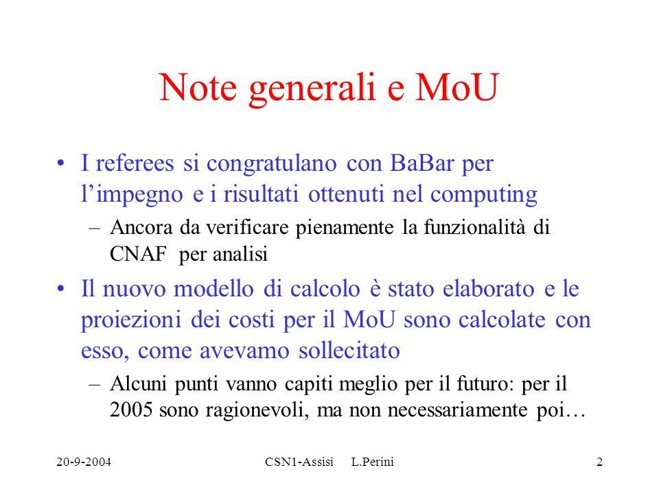 20-9-2004CSN1-Assisi L.Perini2 Note generali e MoU I referees si congratulano con BaBar per l'impegno e i risultati ottenuti nel computing –Ancora da