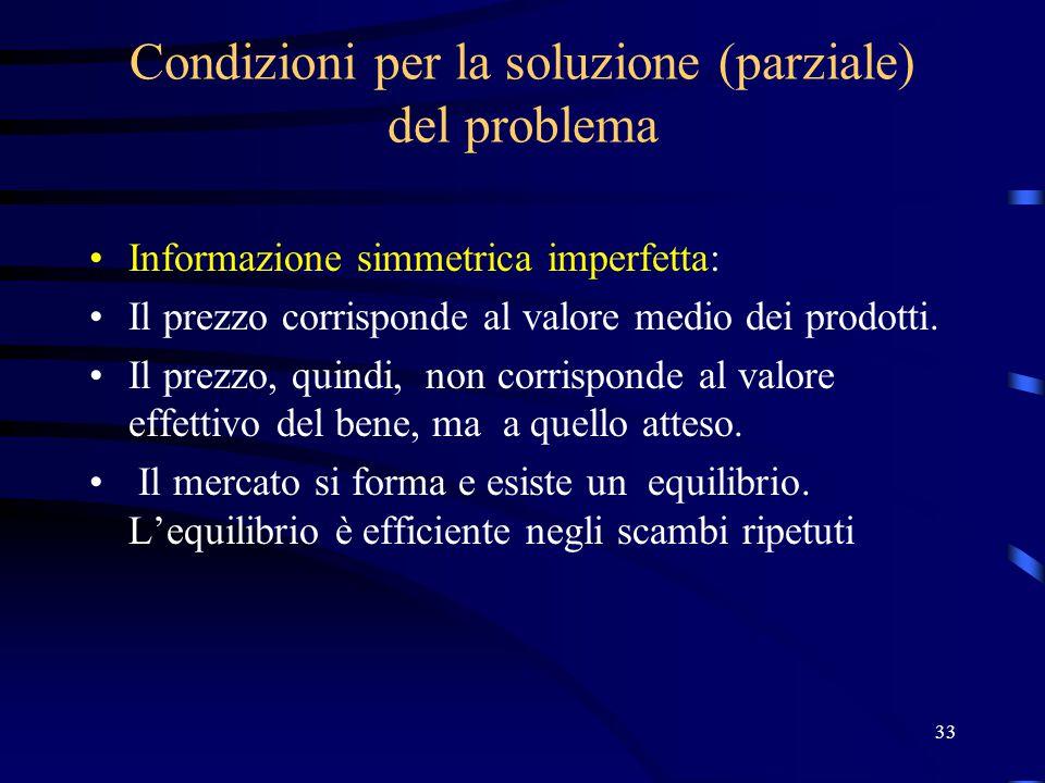 33 Condizioni per la soluzione (parziale) del problema Informazione simmetrica imperfetta: Il prezzo corrisponde al valore medio dei prodotti.