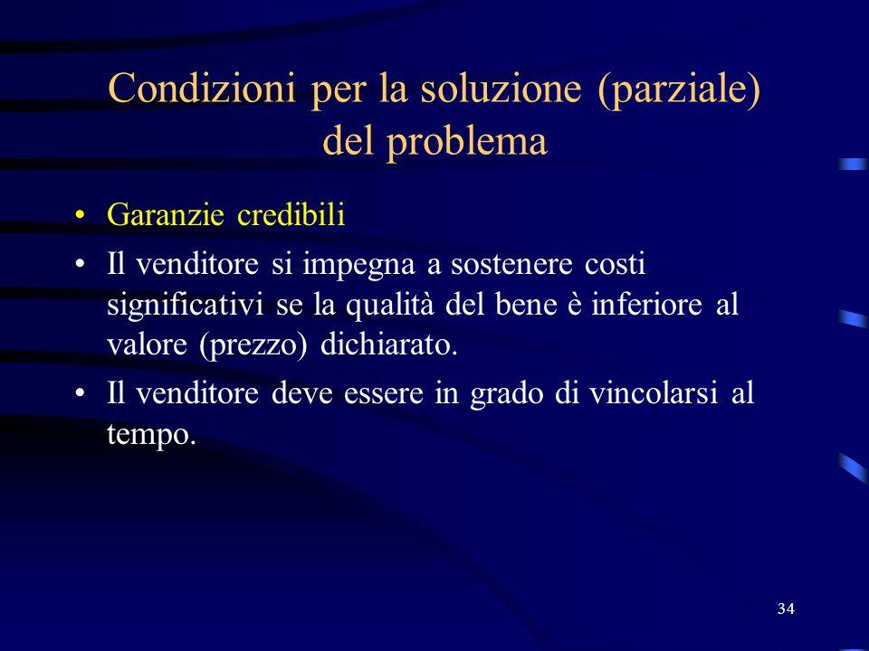 34 Condizioni per la soluzione (parziale) del problema Garanzie credibili Il venditore si impegna a sostenere costi significativi se la qualità del bene è inferiore al valore (prezzo) dichiarato.