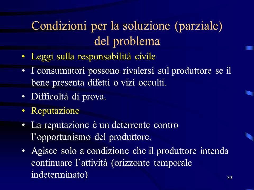 35 Condizioni per la soluzione (parziale) del problema Leggi sulla responsabilità civile I consumatori possono rivalersi sul produttore se il bene presenta difetti o vizi occulti.