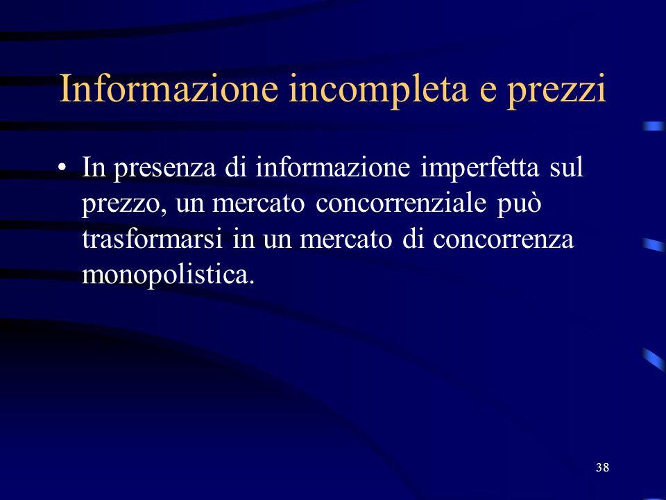 38 Informazione incompleta e prezzi In presenza di informazione imperfetta sul prezzo, un mercato concorrenziale può trasformarsi in un mercato di concorrenza monopolistica.